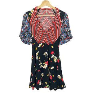 Free People Womens Floral Black Red Dress Size 2